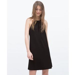 NWT - ZARA black halter scrunch neck dress